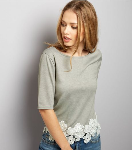 Dark Grey Floral Lace Hem Short Sleeve Top  | New Look