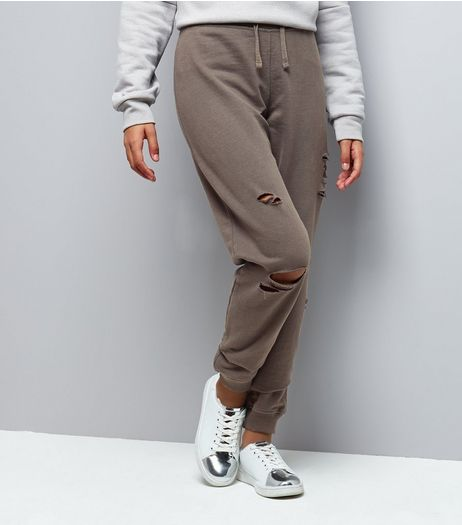 Teens Dark Grey Ripped Joggers | New Look