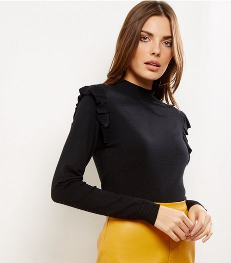 Black Frill Trim Funnel Neck Jumper | New Look