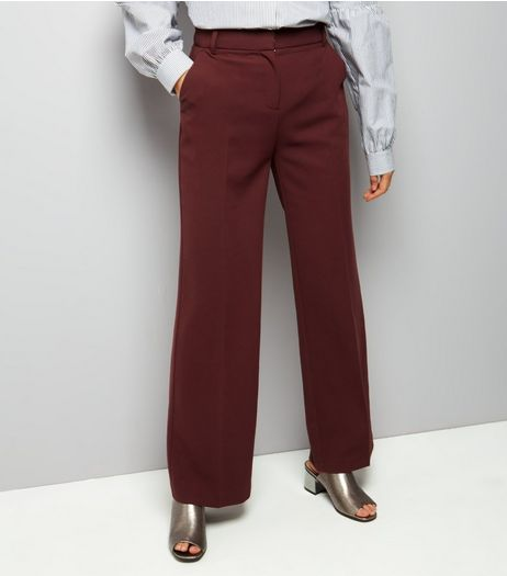 Burgundy Wide Leg Trousers | New Look