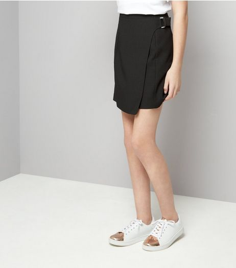 Teens Black D-Ring Wrap Skirt | New Look