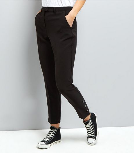 Black Popper Hem Trousers | New Look