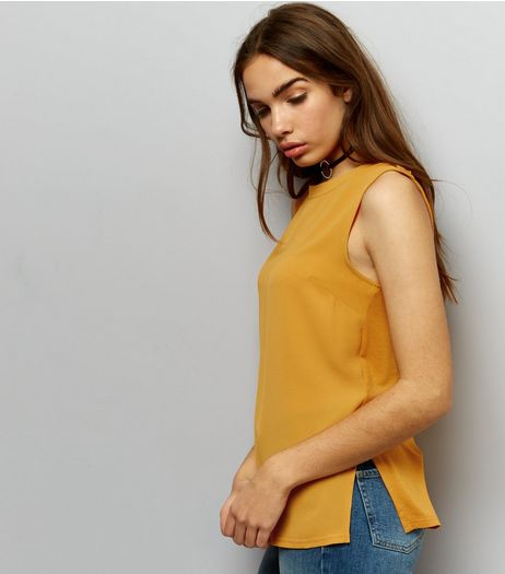 Yellow D Ring Shoulder Sleeveless Top | New Look