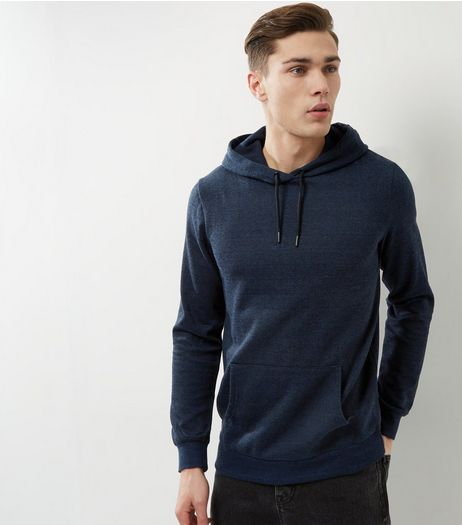 Navy Cotton Mix Hoodie | New Look