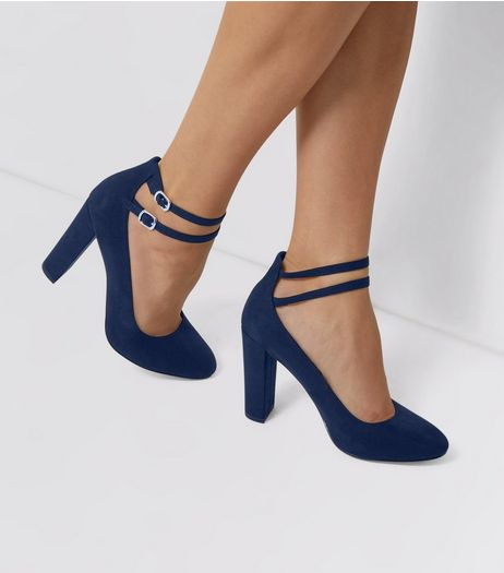 Wide Fit Navy Suedette Double Ankle Strap Heels | New Look