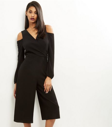 Black Wrap Front Cold Shoulder Jumpsuit  | New Look