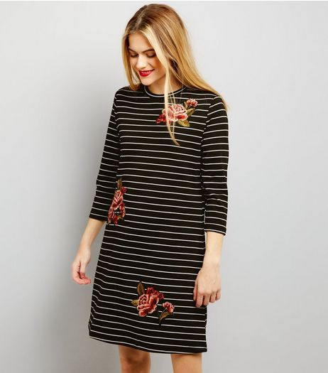 Black Floral Embroidered 3/4 Sleeve Stripe Swing Dress  | New Look