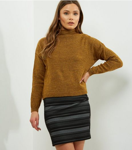 Olive Green Turtle Neck Cropped Jumper  | New Look