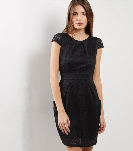 Black Lace Cap Sleeve Tie Waist Tulip Dress | New Look