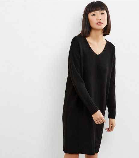 Black V Neck Knitted Midi Dress | New Look