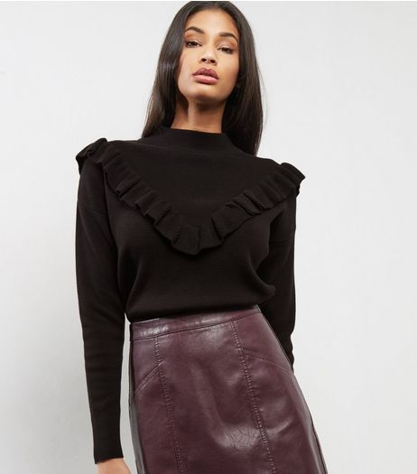 Black Frill Trim Jumper | New Look