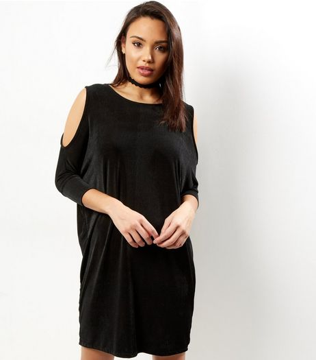 Black Cold Shoulder Drape Tunic Dress | New Look