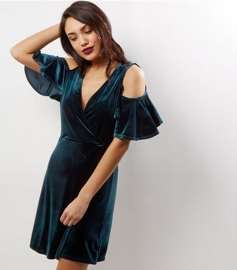 Green Velvet Flutter Sleeve Cold Shoulder Wrap Front Dress | New Look