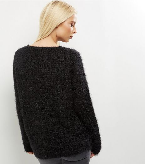 QED Black Knitted Zip Front Jumper  | New Look