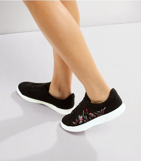 Black Floral Embroidered Trainers  | New Look
