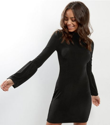QED Black Frill Bell Sleeve Dress | New Look