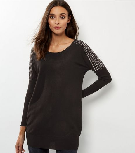QED Black Cross Back Studded Batwing Top | New Look