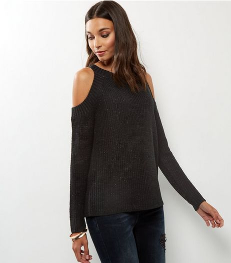 QED Black Glitter Cold Shoulder Jumper | New Look
