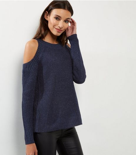 QED Navy Glitter Cold Shoulder Jumper | New Look
