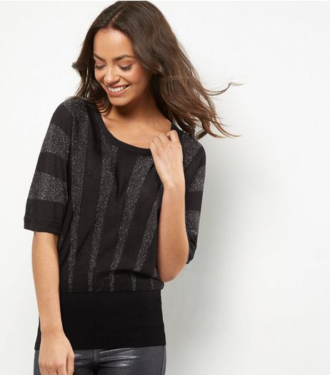 QED Black Metallic Stripe Jumper | New Look