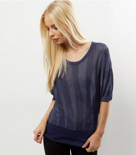 QED Navy Metallic Stripe Jumper | New Look