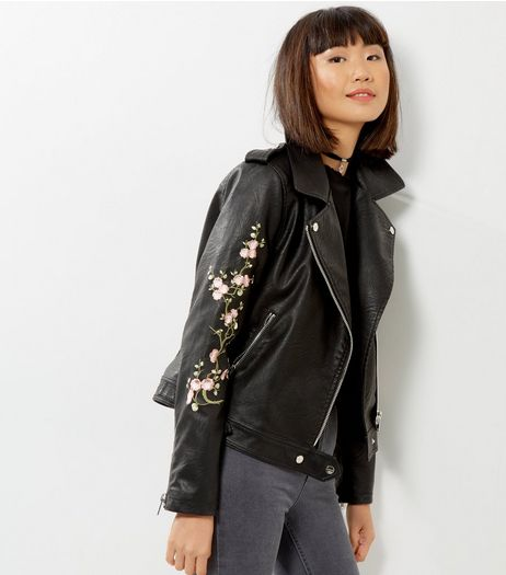 Black Floral Embroidered Leather-Look Biker Jacket | New Look
