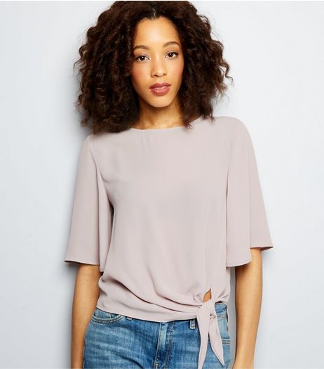 Tall Lilac Tie Front 1/2 Sleeve Top  | New Look