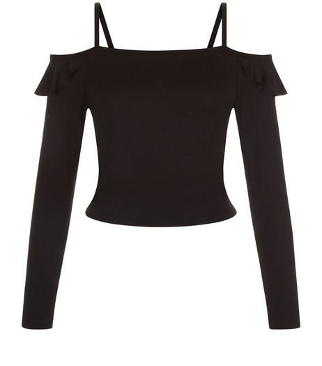 Teens Black Bardot  Frill Trim Top | New Look