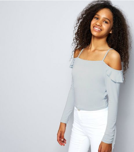 Teens Pale Blue Frill Trim Cold Shoulder Long Sleeve Top | New Look
