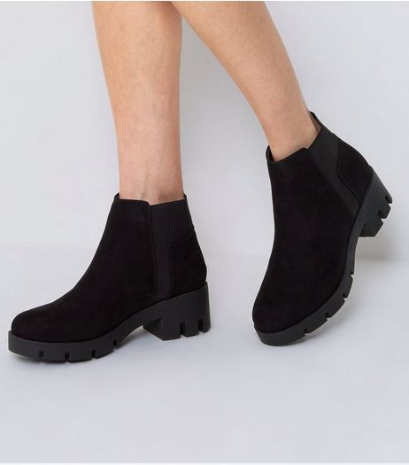 Black Suedette Chunky Ankle Boots | New Look