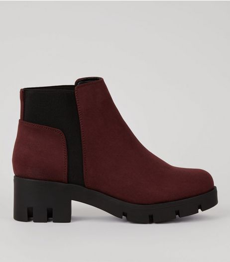Dark Purple Suedette Cleated Sole Chunky Chelsea Boots | New Look