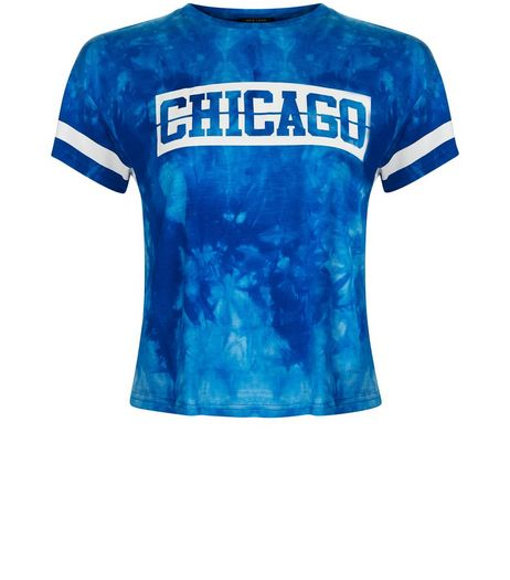 Teens Blue Tie Dye Chicago T-shirt | New Look