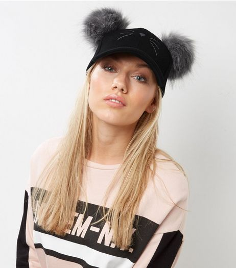 Black Double Pom Pom Cat Cap | New Look