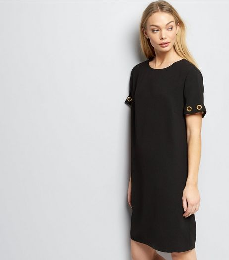 Black Eyelet Trim Short Sleeve Shift Dress | New Look