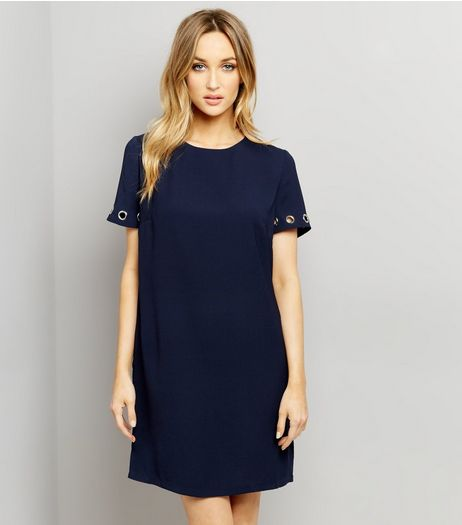 Navy Eyelet Trim Short Sleeve Shift Dress | New Look
