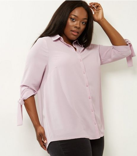 Curves Mid Pink Tie Sleeve Shirt  | New Look