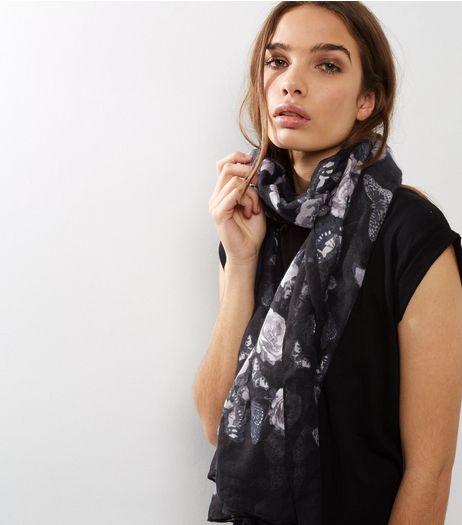Black Floral and Butterfly Print Longline Scarf | New Look