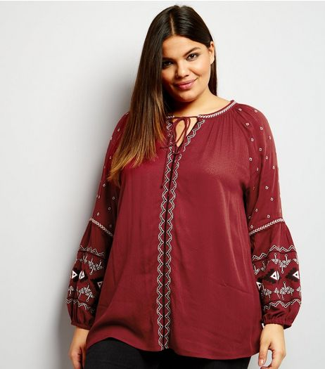 Curves Dark Red Embroidered Balloon Sleeve Top | New Look