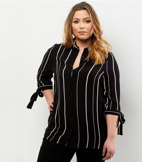 Curves Black Stripe Tie Sleeve Shirt | New Look