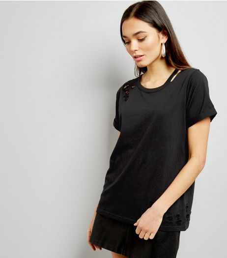 Black Cut Out Ripped Neck T-Shirt  | New Look