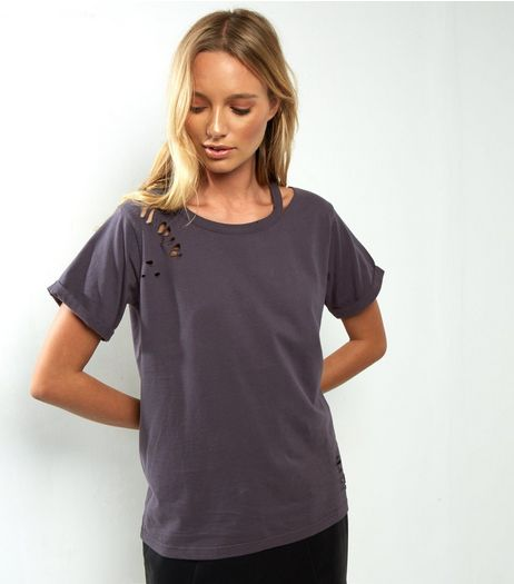 Dark Grey Cut Out Ripped T-Shirt  | New Look
