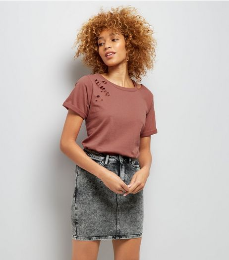 Brown Cut Out Ripped Neck T-Shirt | New Look