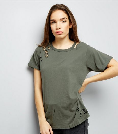 Olive Green Cut Out Ripped Neck T-Shirt  | New Look