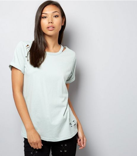 Mint Green Cut Out Ripped T-Shirt  | New Look