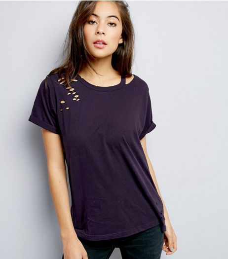 Navy Cut Out Ripped T-Shirt  | New Look