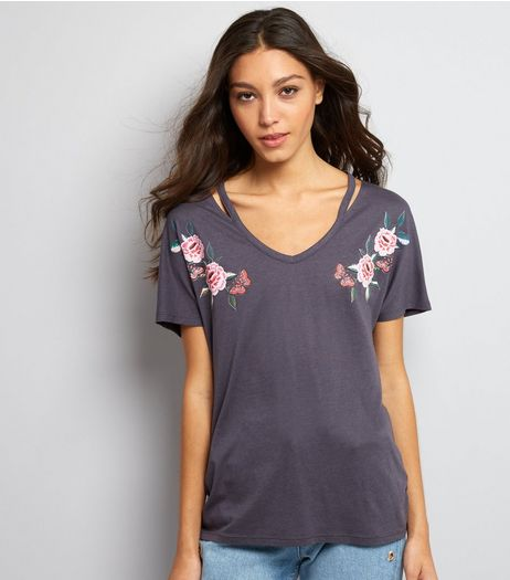 Dark Grey Floral Embroidered Style Cut Out T-Shirt | New Look