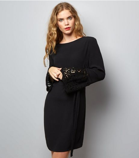 Black Crochet Bell Sleeve Tunic Dress | New Look
