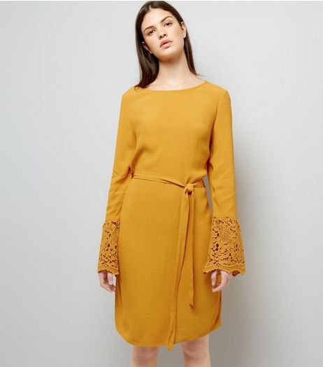 Yellow Lace Bell Sleeve Tunic Dress | New Look