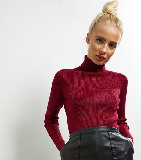Blue Vanilla Red Glitter Turtle Neck Jumper | New Look