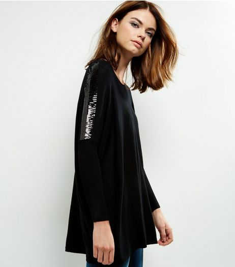 QED Black Sequin Sleeve Oversized Top | New Look